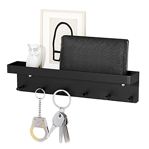 Colgador de llaves con estante, soporte para llaves, color negro, con 6 ganchos y barra para llaves, autoadhesivo como organizador de llaves de acero inoxidable, ganchos para llaves