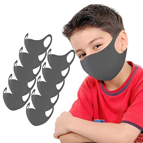 Likecrazy 10 Stück Mundschutz Kinder Junge Mädchen Waschbar Mund und Nasenschutz Bedeckung Solid Staubdicht Kindermäske Atmungsaktive für Laufen, Radfahren,Jungen und Mädchen