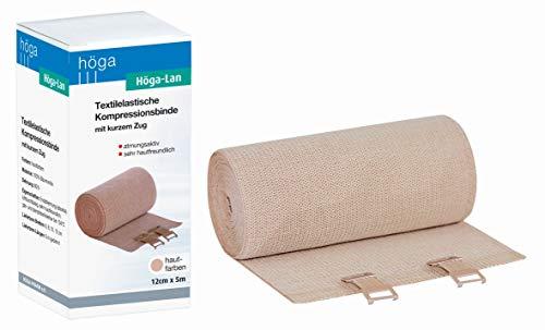 Höga Lan, Textilelastische Kompressionsbinde mit kurzem Zug - 12 cm x 5 m gedehnt – sehr hautfreundlich, atmungsaktiv, elastisch, waschbar