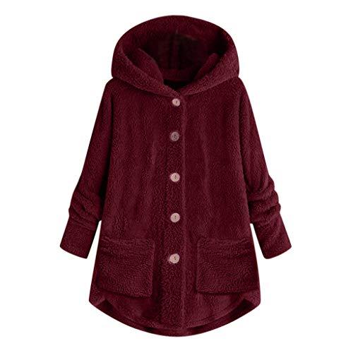 masrin Mantel Damen Strickjacke Plus Size Button Plüsch Tops lose Wolle Winter Kapuzenjacke Bluse(XXXXXL,Wein)