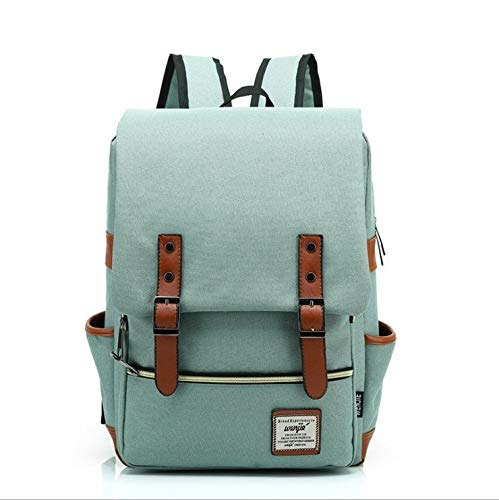 ZZW Backpack With USB Charging Port,Vintage Tear Resistant Business Bag For Travel, College, School, Casual Daypacks For Man,Women, Fits Up To 15.6Inch MacBook, Green
