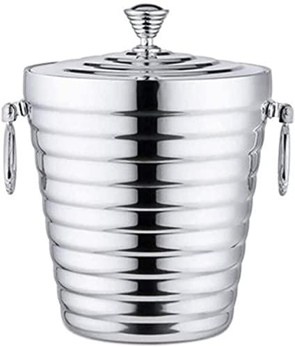 LSZ cubeta de Hielo Bucket de Hielo de Acero Inoxidable de Acero Inoxidable con Chiller de Aislamiento y champaña con Tapa y Mango for Botellas de champán de Cerveza cubeta de Hielo (Size : 2L)