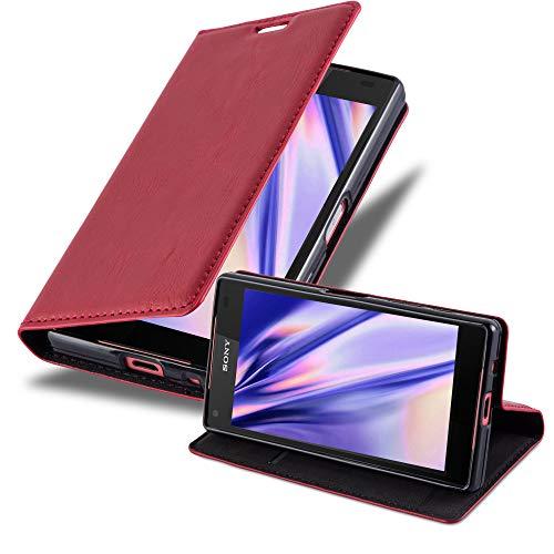 Cadorabo Hülle für Sony Xperia Z5 COMPACT - Hülle in Apfel ROT – Handyhülle mit Magnetverschluss, Standfunktion & Kartenfach - Hülle Cover Schutzhülle Etui Tasche Book Klapp Style