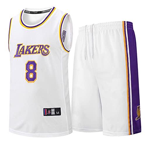 Wsaman Jersey Transpirable y de Secado rápido, Jersey # 8 Baloncesto Jersey Bordado Fan,Hombres Jersey Baloncesto, 8 Camiseta de Jugador de Baloncesto para Hombres,Blanco,XXL