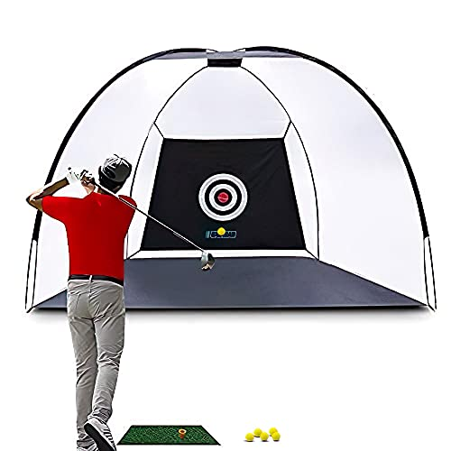 Balagan Practice Hitting Golf Net for Backyard Training and Driving Both Outdoor and Indoor Use Extra Large Nets 10ft x 7ft, Golf Mat 12in x 24in Bullseye Target 5 Practice Golf Balls and Carrying Bag