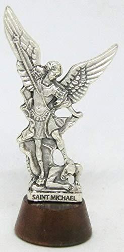 GTBITALY 40.049.30 007 Estatua San Michele Micheal Michael sobre base de madera con texto