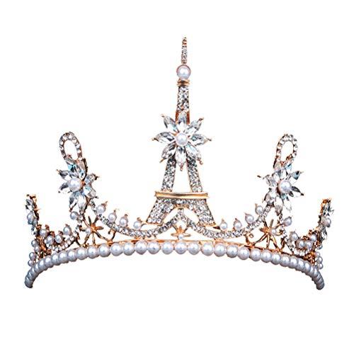Frcolor Or vintage diadèmes tour eiffel forme perle couronnes pour les femmes de mariage décoratif (or)
