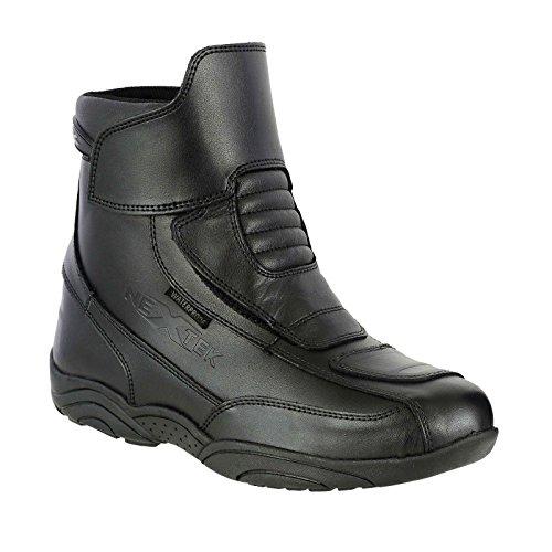 Motorradstiefel aus echtem Leder ohne Reißverschluss Touring Advernture Urban Shoes - Vollständig wasserdichte Turnschuhe mit kurzem Knöchelschutz | UK 5 / EU 39