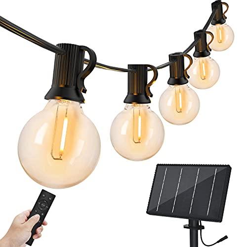 Bomcosy Solar String Lights Outdoor 100FT with Remote, G40 LED Outdoor String Lights Solar Powered with 50+2 Bulbs, Weatherproof Heavy Duty Hanging Lights for Garden Wedding Indoor& Outdoor Use, 2700K