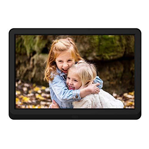 Digitaler Bilderrahmen 10 Zoll mit 32 GB SD Karte NAPATEK Digitaler Fotorahmen 1920x1080 Hochauflösender 16:9 FHD IPS-Bildschirm Bildvorschau Videokalender Uhr Auto EIN/Aus Timer Fernbedienung