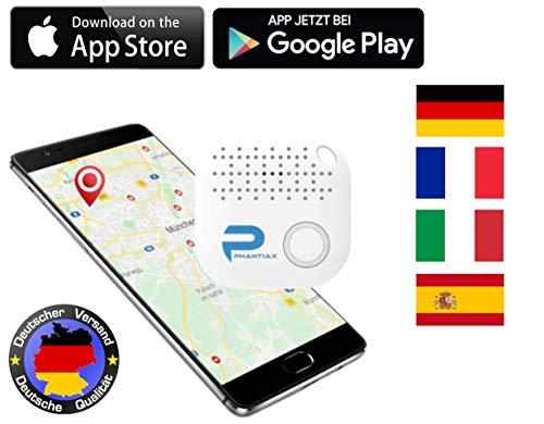 Phantiax Schlüsselfinder Check Go Weiß | Keyfinder mit Bluetooth App, GPS Ortung und Bewegungsmelder zum Finden von Schlüsseln, Smartphone oder Gegenstände