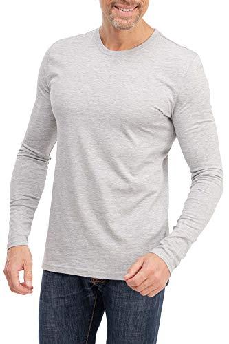 Happy Clothing - Camiseta de manga larga para hombre - Cuello redondo - S M L XL 2XL 3XL gris XXXL