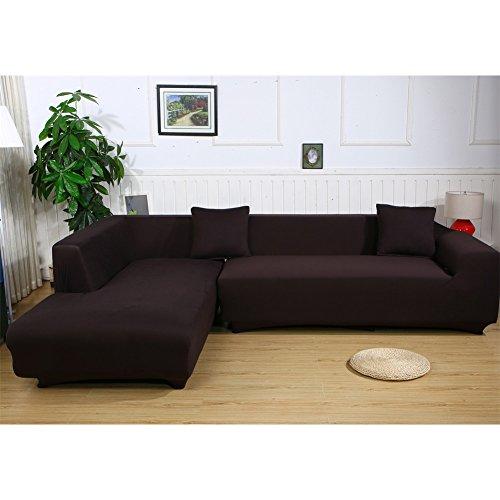 ele ELEOPTION Sofa Überwürfe elastische Stretch Sofa Bezug 2er Set 3 Sitzer für L Form Sofa inkl. 2 Stücke Kissenbezug (Kaffeebraun)