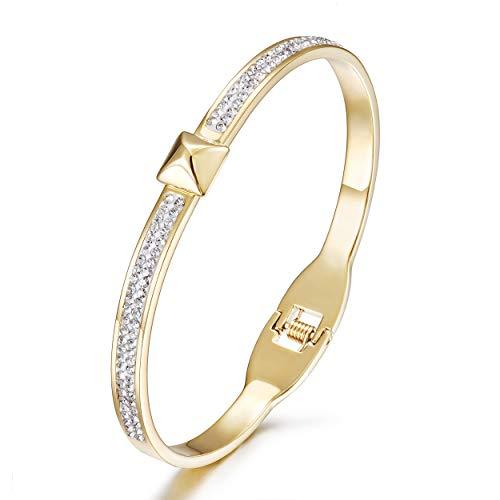 WISTIC Damen Armband Vergoldet Armreif mit Funkeln Kristall Schmuck Geburtstag Geschenk Silber Rose Gold rostfreier Stahl Armband