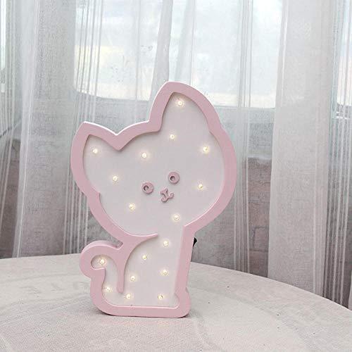 LEDSWES Luces decorativas LED para habitación infantil, luces de pared de madera 3D, luz de noche de gato rosa de dibujos animados, regalos de Navidad