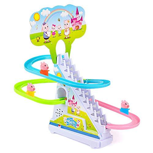 El juguete favorito del bebé, gran regalo para los Coches de carril eléctricos Cerdo lindo escaleras de rastreo de niños Juguetes para niños Puzzle Pingüino Diapositiva con música Toy grande para niño