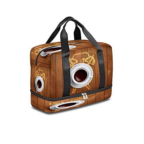 Bolsa de deporte para gimnasio, café, reloj despertador, de madera, bolsa de viaje ligera durante la noche, con bolsillo húmedo y compartimento para zapatos, bolsa impermeable para hombres y mujeres
