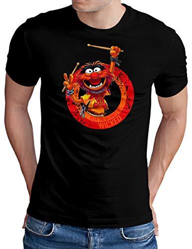 OM3® Wicked-Drummer T-Shirt | Herren | Drums Heavy Metal Rock Music | Schwarz, XL
