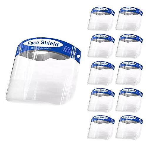 10Pcs Pantalla Protección Facial-FUSIYU Protector Facial Antivaho,Visera de Protección Facial,Reutilizable, Ligera,Azul- para Hombres y Mujeres,Enviar desde Europa
