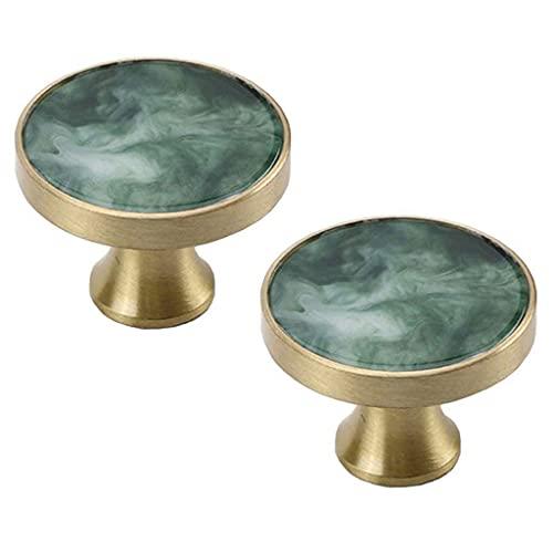 DIELUNY 2 piezas de acabado cobre/bronce | Tirador redondo sólido del gabinete del cajón | Hardware del gabinete de cocina/manija del cajón del aparador, 32 mm