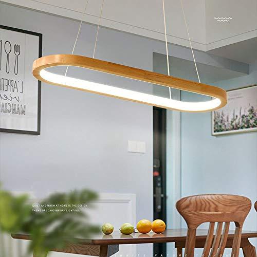 LED Holz Pendelleuchten Dimmbar mit Fernbedienung Pendellampe Höhenverstellbar 41W 3000K-6500K Bürobeleuchtung Hängelampe Acryl Schatten für Wohnzimmer Schlafzimmer Esszimmer Office L 90CM