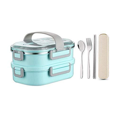 Caja de almuerzo Bento Almuerzo a prueba de fugas Acero inoxidable Apilable Caja de almuerzo, estilo japonés para microondas Congelador Lavavajillas Bento Cajas para niños S Playa (Color: Azul