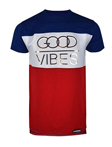 SCREENSHOTBRAND-763 Mens Hipster Hip-Hop Urban Tees – Street Fashion Longline Embossed Gold Print T-Shirt White Vibes-Navy-Small