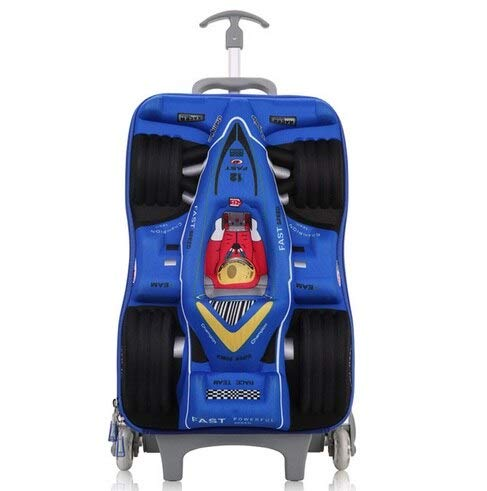 Mdsfe HOT 16'cars 3D extrusion EVA   trolley case boy kids cool Climb stairs luggage suitcase Travel cartoon Boarding box child gift - Sky Blue