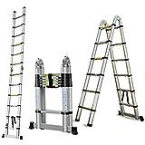 Escalera telescópica plegable de aluminio de 3,8 m y 1,9 m con soporte para escalera, 150 kg de capacidad de carga máxima para uso en interiores y exteriores, EN131