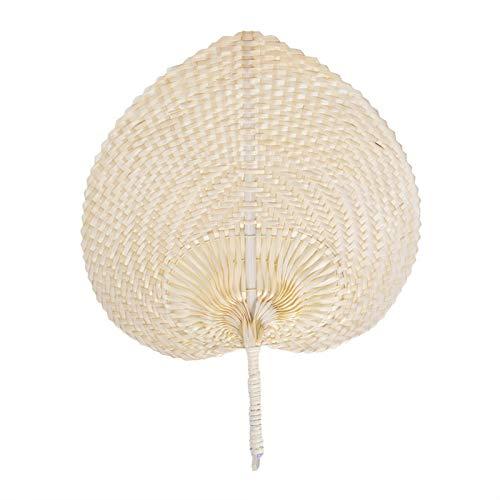 QIEZI Ventilador Tejido de bambú Hecho a Mano Puro, Ventilador de Verano en Forma de corazón de Bricolaje para Ventilador de Cocina para Hornear
