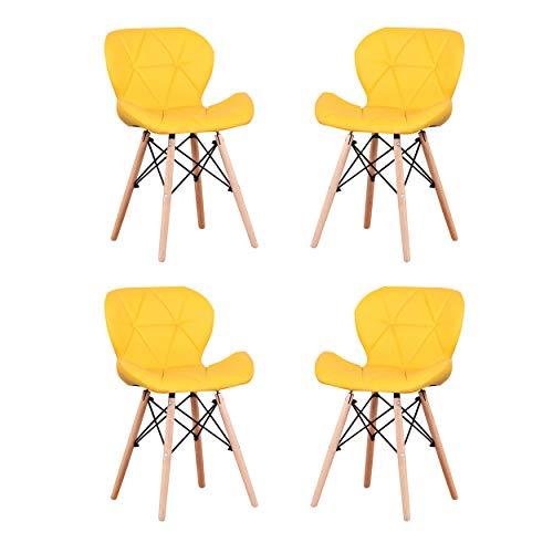 Mobili per la casa Sedie da pranzo Pelle PU/Tessuto in velluto/Tessuto di lino Materiale Sedie ergonomiche con gambe in legno Sedie per casa Sala da pranzo Soggiorno Cucina (Yellow PU)