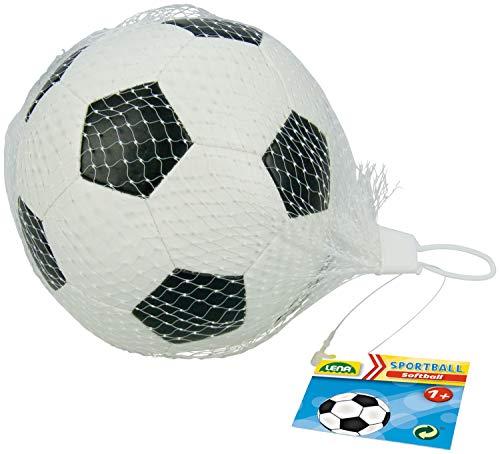 Lena 62177 - Balón de fútbol Blando para niños a Partir de 12 m, Color Blanco y Negro