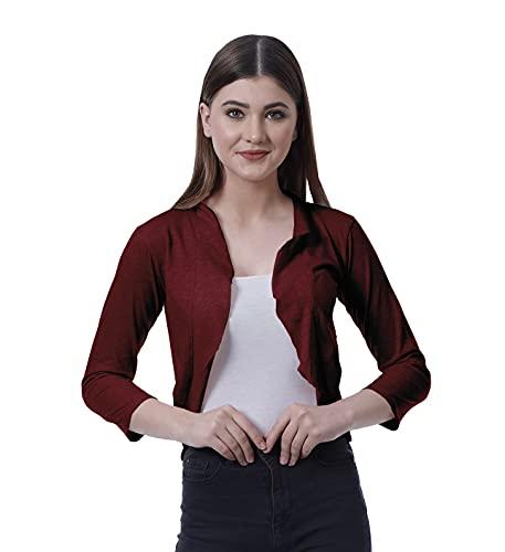 Moomaya Mujeres 3/4 manga corta encogimiento abierto frente algodón verano casual Cardigan - rojo - Small