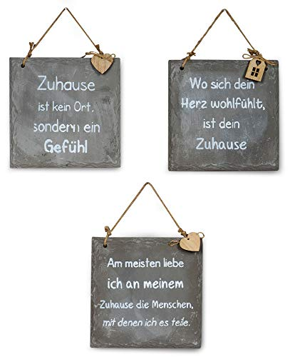3er Set Wandbilder Sprüche 20x20cm Schilder Beton Betonplatten Deko Wanddeko