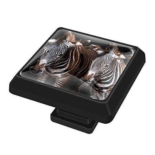 3 Stück – Quadratische Kristallglas-Knäufe für Schubladen, dunkelbraune Zebra-Heimdekoration für Kleiderschrank, Schranktür, Küche und Badezimmer, 37 mm