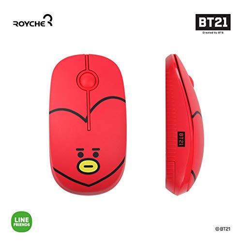 BT21 Figura Ratón inalámbrico silencioso de Royche (rojo(TATA))