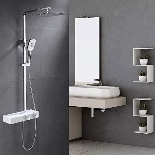Umi. by Amazon - Eckig Duschsystem mit Ablage Duschpaneel Duschset 3 Strahlarten Duscharmatur Handbrause Regenbrause Edelstahl Messing