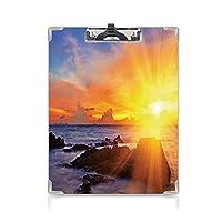 個性的 キングジム:クリップボード カラー A4判タテ型 ビーチ アイデア多機能メニュー 熱帯ビーチファンタジー風景印刷装飾オレンジブルーで空のロマンスとカラフルな夕日