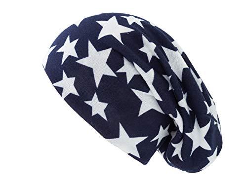 Shenky - Long Bonnet Tombant - Jersey - Bleu avec étoile Blanche