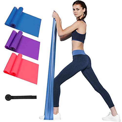 Morfone Fitnessbänder, 3er-Set Theraband widerstandsbänder in 3 Stärke, Gymnastikband Krafttraining Fitnessband für Muskelaufbau, Yoga, Pilates Trainingsband für Männer Frauen