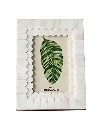 Creative Co-op White Scalloped Bone & Wood Frame (Holds 4