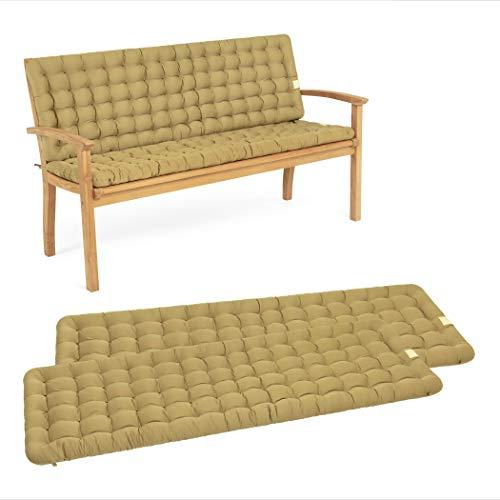 HAVE A SEAT Luxury – Juego de cojines de asiento con respaldo para banco de jardín, cómodo cojín lavable hasta 95 °C, fácil de limpiar, fabricado en Alemania (150 x 48 cm, beige)