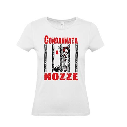 T-Shirt Maglietta Addio al Nubilato per Sposa : CONDANNATA A Nozze - Gadget per Festa Addio al Nubilato (Taglia S)