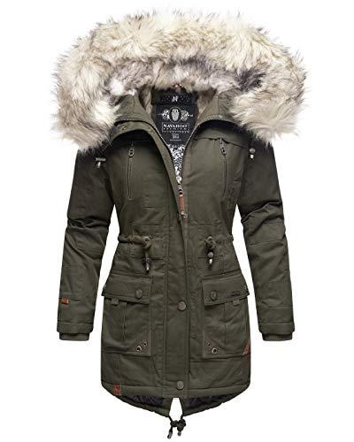 Navahoo Premium dames winterjas parka mantel winterjas warm kunstbont B805