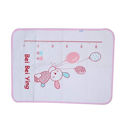 Manyo - Cambiador de viaje portátil de algodón mixto con diseño de conejo, lavable, colchón plegable, 50 × 70 cm, rosa, 19,68' × 27,55'