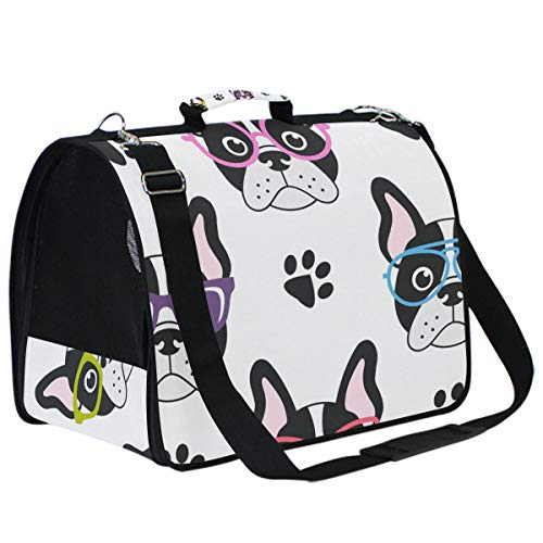 N/ A Cat Carriers Dog Carrier Pet Carrier - Cute French Bulldogs with Glasses Airline Approved Soft Sided Pet Travel Ventilated Carrier for Cats Dogs