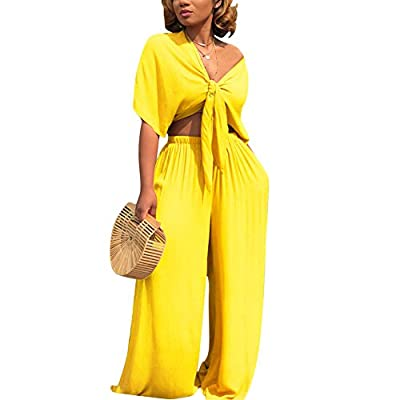 Aro Lora Women's 2 Piece Outfit Jumpsuit Short Sleeve V Neck Tie up Crop Top Wide Leg Pant Set Romper Large Yellow