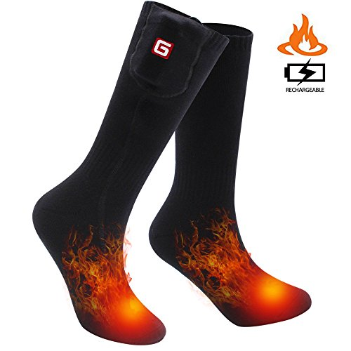 SVPRO Rechargeable Electric Heated Socks Battery Powered Comfortable Thermo-Socks,Cold Weather Thermal Socks Sport Outdoor Camping Hiking Warm Winter Socks for Men Women (Black(Top Heat), M)