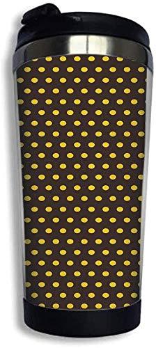 Tumbler Cup 14 Unzen Edelstahl Vakuum isoliert mit Deckel Reisebecher Pop 50er 60er Jahre Retro mit Tupfen Kreise Bild Kaffeetasse Für Zuhause, Büro, Außenarbeiten Dunkelbraun und Ringelblume