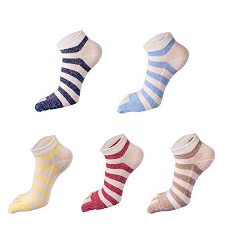Panegy Chaussettes homme 5 Paires Socquette avec 5 Orteils Doigts Rayure Multicolores - Chaussettes Fantaisie homme Fille - Bleu Rose Vert Jaune Noir